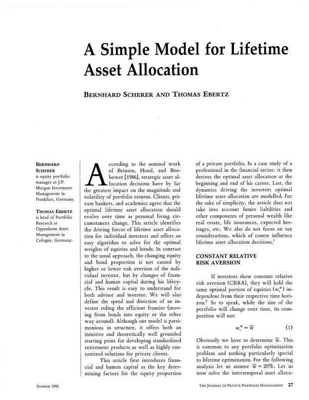 A Simple Model for Lifetime Asset Allocation | The Journal